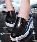 Casual Womens Hollow Hidden Wedge Heel Sneakers Athletic Slip On Platform Shoes