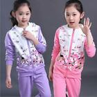 New Baby Girls Clothes Sport Suit Kids ClothingJacket Pants Tracksuit Size 3-15Y