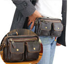 Mens Brown Leather Business Waist Pack Shoulder Messager Bag Handbag Briefcase