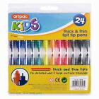 24x NEW Assorted Colour Thick & Thin Fibre Colouring Pens Felt Tips Markers-UK