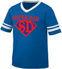 Super Dad Symbol Superhero Daddy Hero My Father Pa Pop Men's V-Neck Ringer Tee
