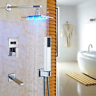 "Chrome LED Light Brass 8 "" Wall Mount Rainfall Shower Unit Bathtub Mixer Faucet"