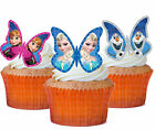 24 x FROZEN BUTTERFLY Precut Edible Wafer Cupcake Toppers