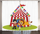 Ambesonne Cartoon Lion Jumping Ring with Circus Tent Show...