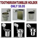 Tumbler Toothbrush Holder Bath Wall mounted Stainless Steel Brush Nickel/Chrome