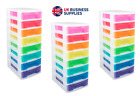 Really Useful Storage Plastic Boxes 8 x 7 Litre Clear Tower Rainbow Drawers