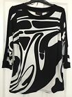 BLACK AND CREAM ABSTRACT PRINT 3/4 SLEEVE TOP, SCOOP NK,BNWT