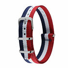 Nylon White Blue Red Fabric Strap Band For Watch Buckle Spring Bars Military New