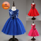 Sequin Bowknot Wedding Bridesmaid Party Princess Prom Dress Girls Kids