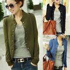 FASHION Women's Slim Fit Casual Varsity Bomber Double Breasted Jacket Coat Tops