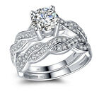 925 Sterling Silver Aaa Cz Infinity Women's Wedding Engagement Bridal Ring Set