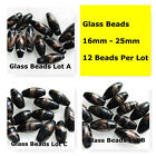 12 Black Foil Painted Glass Oval Spacer Beads Swirl Beads 17mm - 26mm