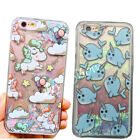 Cute Unicorn Quicksand Dynamic Glitter Back Case Cover for iPhone 6s Samsung S7
