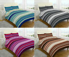 New Printed Stripe Duvet/Quilt Cover With Pillow Case Reversible All Sizes