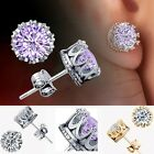 Charm Women Elegant Sterling Silver Rhinestone Crown Ear Stud Earrings TXST