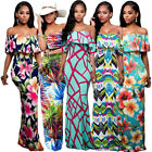 Tropical Summer Casual Long Dress Off Shoulder Multi Colour Floral Print Maxi