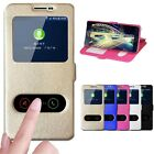 Wallet Flip Leather Silk Dual View Window Stand Case Cover For Samsung Galaxy