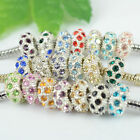 Hot Fashion Crystal Silver Plated European Charms Spacer Beads Fit DIY Bracelets