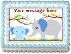 BLUE BABY ELEPHANT Mom and baby  Edible image cake topper decoration