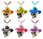 Large Skull with Cowboy Hat Pendant and Matching Color Necklace New Halloween