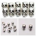 10/20 Antique Silver Skull Head Spacer Beads Jewelry Bracelet Findings 4mm Hole