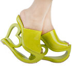 Retro Green Heart Heel Wedge Wedding Party Slip-ons Sandals Size 4/5/6/7/8/9/10