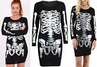 Womens Ladies Halloween Silver Skeleton Bones Skull Foil Print Dress Mini Tunic