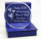 Engraved 50th Golden Wedding Anniversary Presentation, Cut Glass, Gift