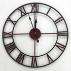 Large Wall Clock Metal Industrial Iron Vintage French Provincial Antique 47cm