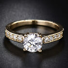 7mm Round Crystal Diamond Yellow Gold Filled Channel Women Lady Engagement Rings image