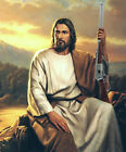 Jesus with Rifle Sunset Landscape Christian Religious Protection Oil Painting