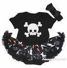 White Skull Halloween Black Bodysuit Girls Pumpkin Ghost Cat Baby Dress NB-18M