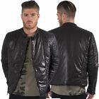 Fremont & Harris Designer Mens Padded Hip Length Jacket Biker Collar Zip Up Coat
