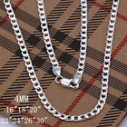 "HOT 4MM SOLID 925STERLING SILVER JEWELRY CHAINS 16""-30"" NECKLAC MEN'S XAMS GIFTS"