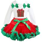 Baby Red Green Pettiskirt Tutu Xmas Gift White Long Sleeve Tee Dress Outfit