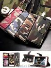 For iPhone 7/8 Plus Camo Leather Magnetic Wallet Flip Card Case With Wrist Strap