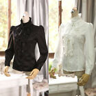 US Women Lady Turtleneck Tops Blouse Victorian Ruffle Lace Chiffon Career Shirt