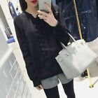 White Black Women Winter Lace Up Long Sleeve Pullover Solid Warm Sweater LM
