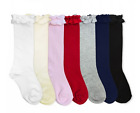 Girls Pima Cotton Ruffle Knee High Sock Boot Socks YOU PICK SIZE  COLOR