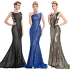 Shining Sequins ST Masquerade Evening Bridesmaid Party Ball Gown PROM LONG Dress