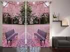 Nature Zen Modern Home Decor Bench and Cherry Blossom Trees Curtain 2 Panels Set