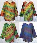 Unisex Tie Dye Long Sleeve Cotton TOP Pullover Shirt One Sz Women XL, Men L-XL