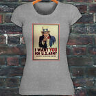 UNCLE SAM ARMY WANT YOU  RECRUIT AMERICAN SOLDIER Womens Gray T-Shirt