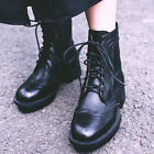 Womens british Lace Up Brogue Ankle Boots Round Toe chic Shoes Low Heel wing tip