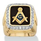 PalmBeach Jewelry Men's .59 TCW Enamel and CZ 14k Gold-Plated Masonic Ring