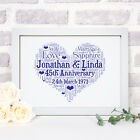 Personalised Anniversary Heart Print Frame Gifts For Him Her Couples Mum Dad