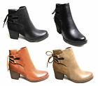 Women Ladies Chelsea Ankle Boots Shoe Zip Back Lace Faux PU Suede Leather Casual