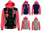 Women Children Infants Plus Size Baseball Varsity Jacket Coat Hooded R FOX Badge