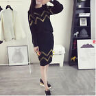 New Autumn Korean Long Fashion Women Striped Knit Two Pieces Casual Dress Set