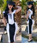NWT Tatyana OPPOSITE ATTRACTION Dress BETTIE PAGE 50s PENCIL Black White XS-4X